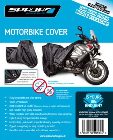 SPADA MOTORCYCLE COVER-ADVENTURE [800cc+ c/w LUGGAGE] 809