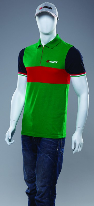 Sidi Casuals Polo Shirt-Zipper Neck Green/Red