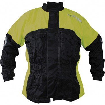 RICHA RAIN WARRIOR WATERPROOF JACKET BLACK FLUO YELLOW