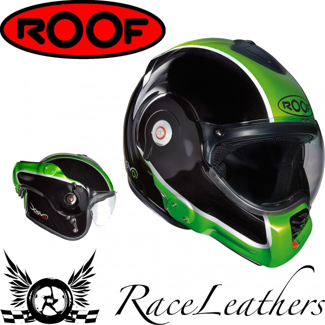 roof desmo flash black green flip front helmets from raceleathers motorcycle clothing. Black Bedroom Furniture Sets. Home Design Ideas