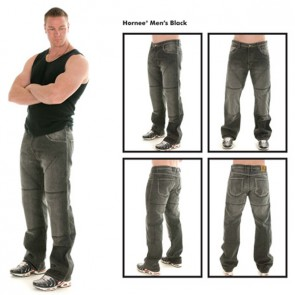 HORNEE SAM1 SHORT LEG BLACK KEVLAR JEANS WITH KNEE ARMOUR