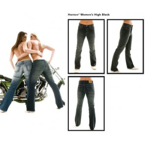 HORNEE SAW2 BLK REGULAR LADIES KEVLAR JEANS + KNEE ARMOUR
