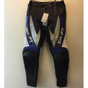 Swift Viper Mens Leather Trousers Black Gun Blue