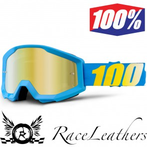 100% Goggles Strata Youth Blue Mirror Gold Lens