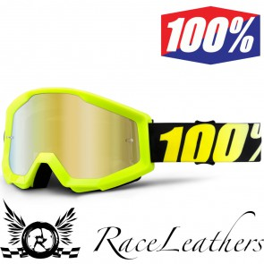 100% Goggles Strata Youth Neon Yellow Mirror Gold Lens