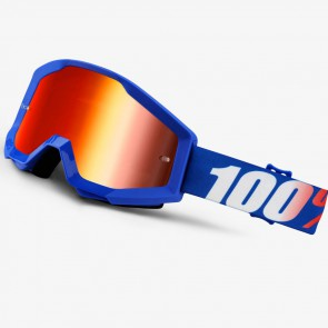 100% Strata Goggles Nation Mirror Blue Lens