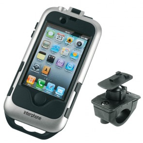Interphone IPHONE 4 Silver Motorcycle Holder Mount For Tubular Handlebars