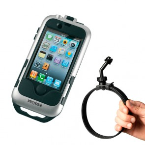 Interphone IPHONE 4 Silver Motorcycle Holder Mount For Non Tubular Handlebars
