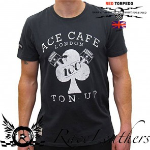 Red Torpedo Ace Cafe Ton Up Bk T Shirt
